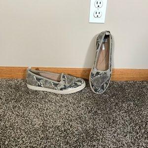 Clark's Snake Print Slip on Shoes